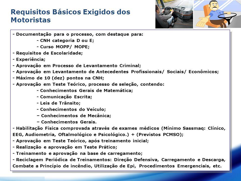 Requisitos Básicos Exigidos dos Motoristas - Documentação para o processo, com destaque para: - CNH categoria D ou E; - Curso MOPP/ MOPE; - Requisitos