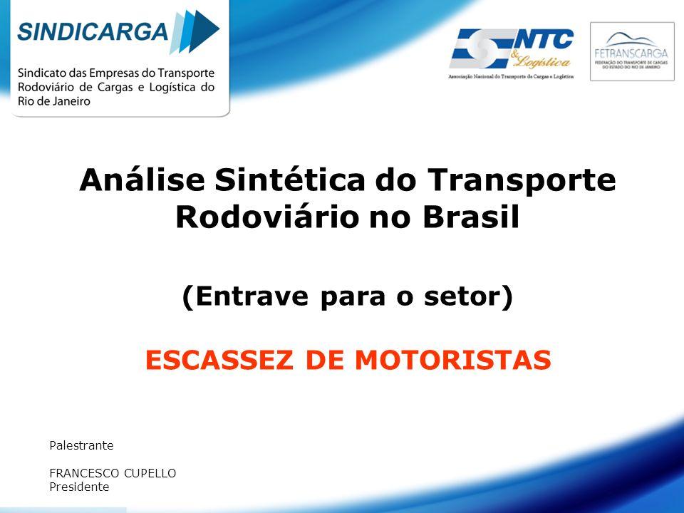 Análise Sintética do Transporte Rodoviário no Brasil (Entrave para o setor) ESCASSEZ DE MOTORISTAS Palestrante FRANCESCO CUPELLO Presidente