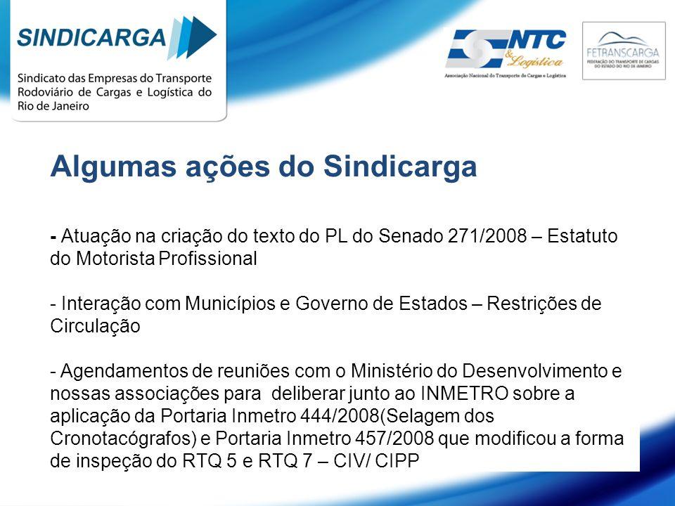 Algumas ações do Sindicarga - Atuação na criação do texto do PL do Senado 271/2008 – Estatuto do Motorista Profissional - Interação com Municípios e G