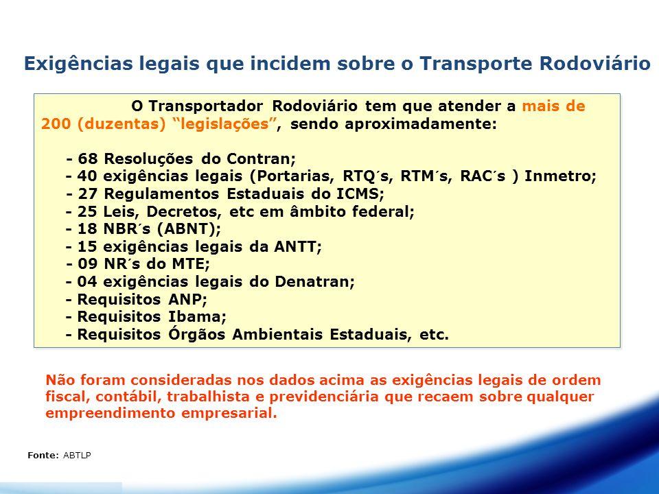 Exigências legais que incidem sobre o Transporte Rodoviário O Transportador Rodoviário tem que atender a mais de 200 (duzentas) legislações, sendo apr