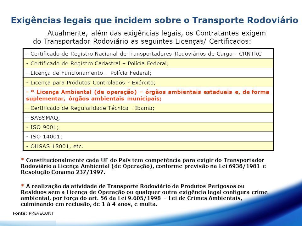 Exigências legais que incidem sobre o Transporte Rodoviário Atualmente, além das exigências legais, os Contratantes exigem do Transportador Rodoviário