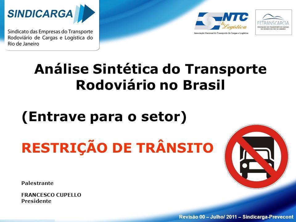 Análise Sintética do Transporte Rodoviário no Brasil (Entrave para o setor) RESTRIÇÃO DE TRÂNSITO Palestrante FRANCESCO CUPELLO Presidente Revisão 00