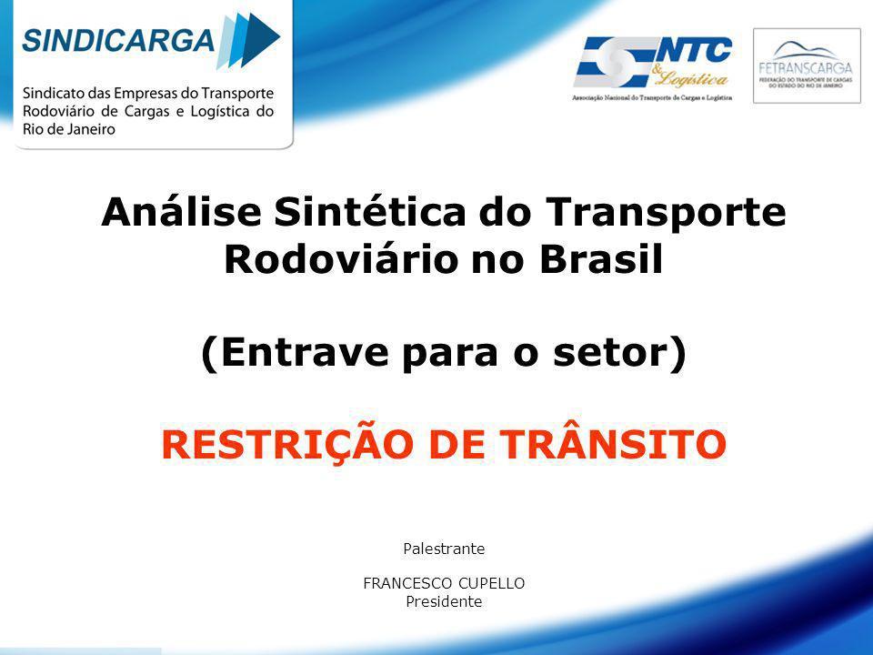 Análise Sintética do Transporte Rodoviário no Brasil (Entrave para o setor) RESTRIÇÃO DE TRÂNSITO Palestrante FRANCESCO CUPELLO Presidente