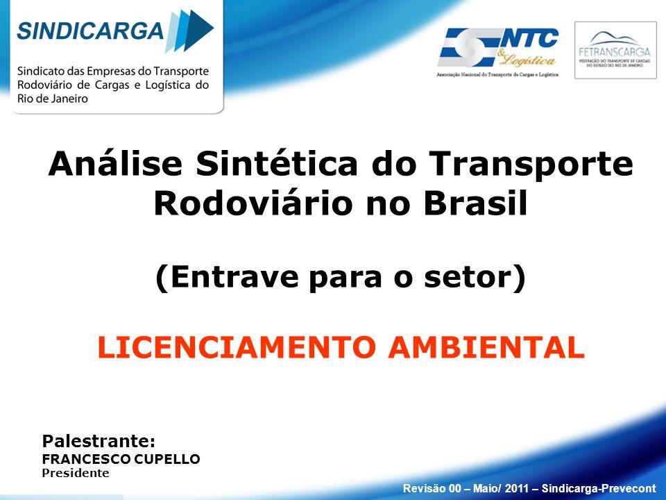 Análise Sintética do Transporte Rodoviário no Brasil (Entrave para o setor) LICENCIAMENTO AMBIENTAL Palestrante: FRANCESCO CUPELLO Presidente Revisão