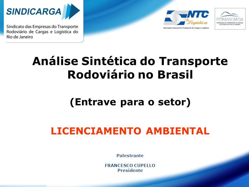 Análise Sintética do Transporte Rodoviário no Brasil (Entrave para o setor) LICENCIAMENTO AMBIENTAL Palestrante FRANCESCO CUPELLO Presidente