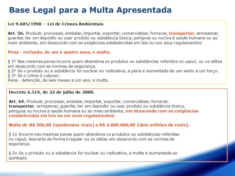 Base Legal para a Multa Apresentada Lei 9.605/1998 – Lei de Crimes Ambientais Art. 56. Produzir, processar, embalar, importar, exportar, comercializar