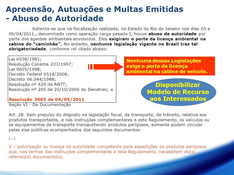 Salienta-se que na fiscalização realizada, no Estado do Rio de Janeiro nos dias 05 e 06/04/2011., denominada como operação carga pesada I, houve abuso