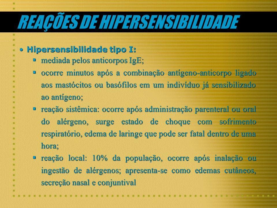 REAÇÕES DE HIPERSENSIBILIDADE Hipersensibilidade tipo I:Hipersensibilidade tipo I: mediada pelos anticorpos IgE; mediada pelos anticorpos IgE; ocorre