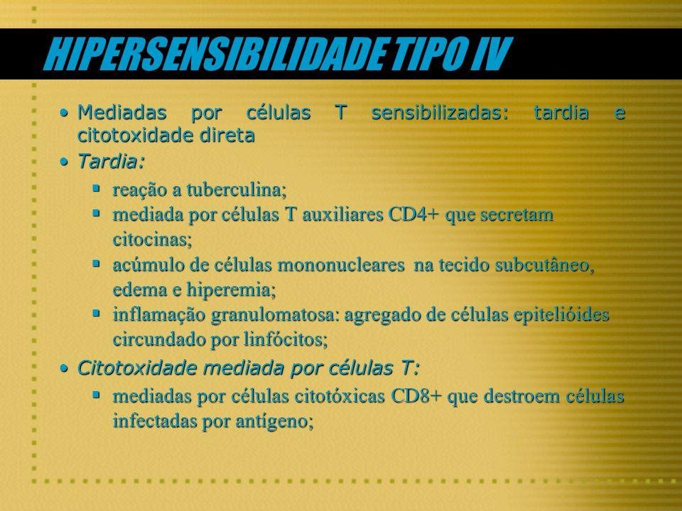 HIPERSENSIBILIDADE TIPO IV Mediadas por células T sensibilizadas: tardia e citotoxidade diretaMediadas por células T sensibilizadas: tardia e citotoxi