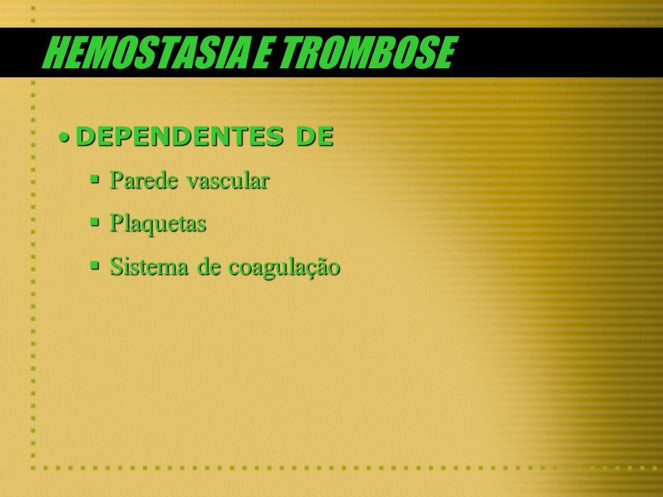 HEMOSTASIA E TROMBOSE DEPENDENTES DEDEPENDENTES DE Parede vascular Parede vascular Plaquetas Plaquetas Sistema de coagulação Sistema de coagulação