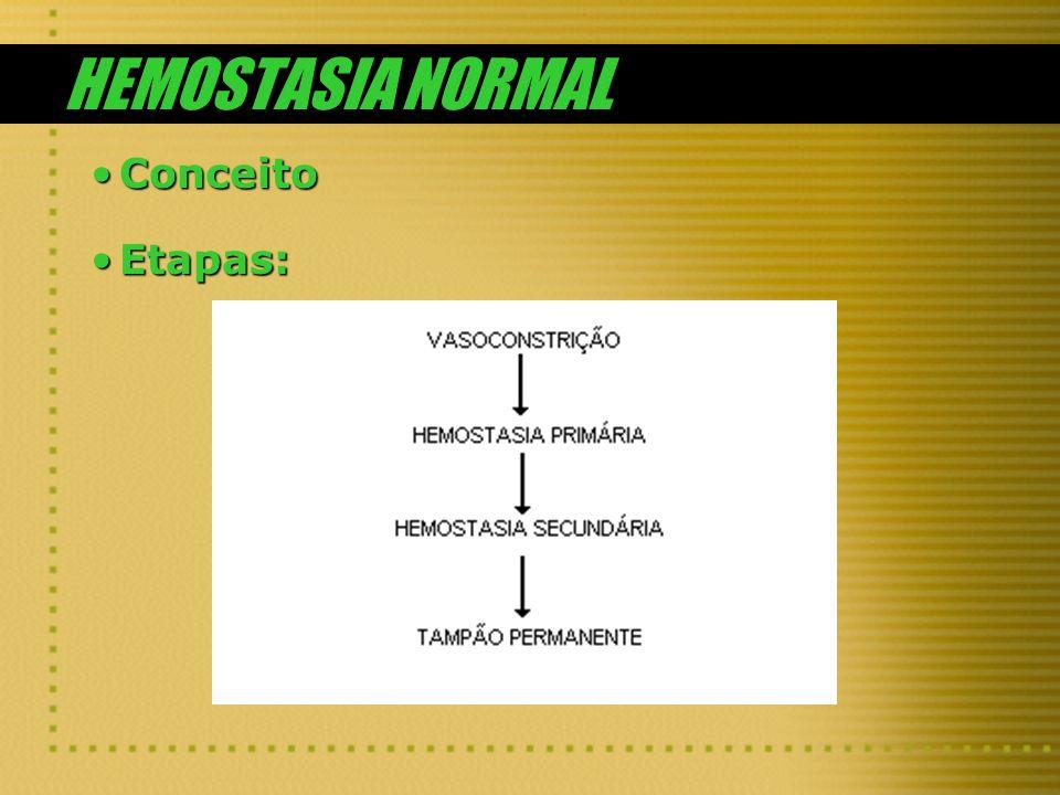 HEMOSTASIA NORMAL ConceitoConceito Etapas:Etapas: