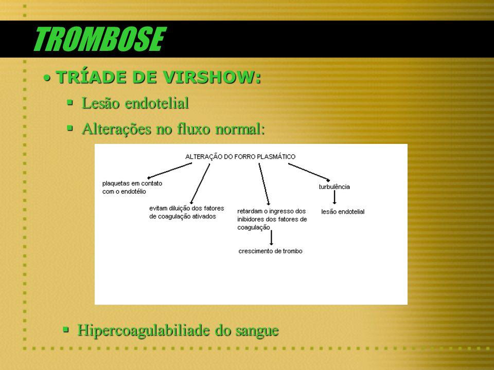 TROMBOSE TRÍADE DE VIRSHOW:TRÍADE DE VIRSHOW: Lesão endotelial Lesão endotelial Alterações no fluxo normal: Alterações no fluxo normal: Hipercoagulabi