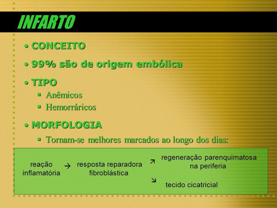 INFARTO CONCEITOCONCEITO 99% são de origem embólica99% são de origem embólica TIPOTIPO Anêmicos Anêmicos Hemorráricos Hemorráricos MORFOLOGIAMORFOLOGI