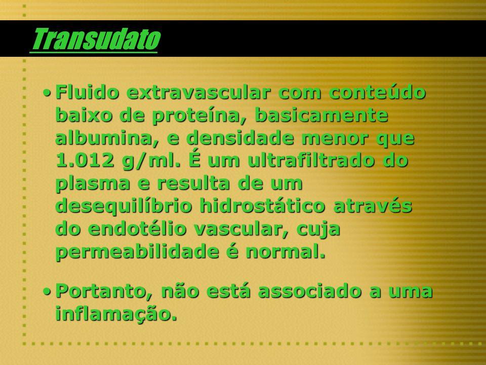 Transudato Fluido extravascular com conteúdo baixo de proteína, basicamente albumina, e densidade menor que 1.012 g/ml. É um ultrafiltrado do plasma e