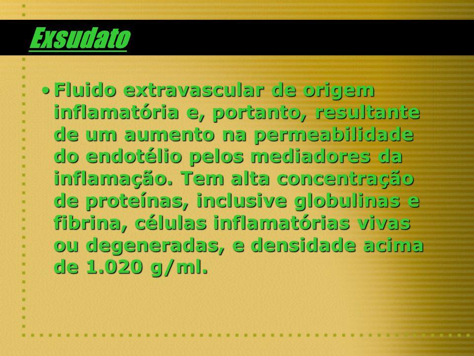 Exsudato Fluido extravascular de origem inflamatória e, portanto, resultante de um aumento na permeabilidade do endotélio pelos mediadores da inflamaç