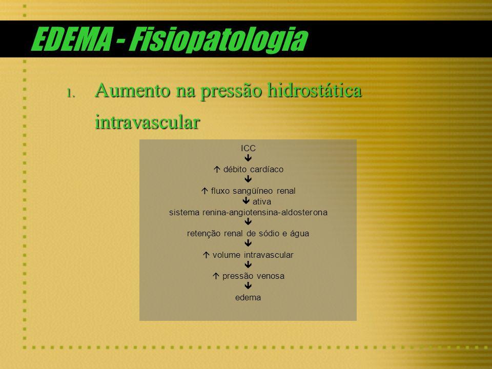 EDEMA - Fisiopatologia 1. Aumento na pressão hidrostática intravascular ICC débito cardíaco fluxo sangüíneo renal ativa sistema renina-angiotensina-al