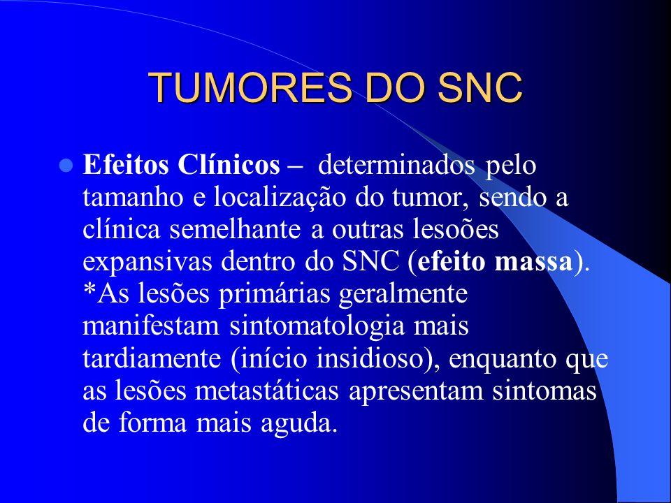 TUMORES DO SNC Na infância 70% -infra-tentoriais Adulto 70% -supra-tentoriais Primários / Secundários ( metástases) Primários ; Astrocitomas/ Anaplásico/ Glioblastoma Meduloblastoma Meningeoma Neurinoma