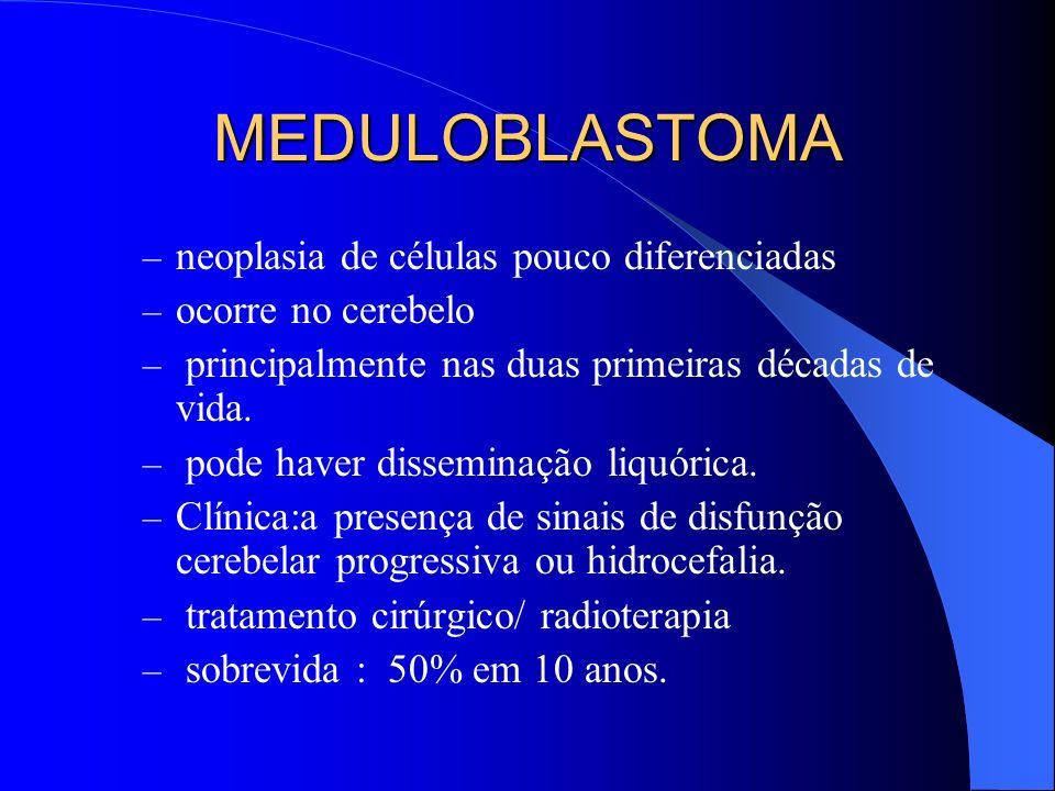 MEDULOBLASTOMA – neoplasia de células pouco diferenciadas – ocorre no cerebelo – principalmente nas duas primeiras décadas de vida. – pode haver disse
