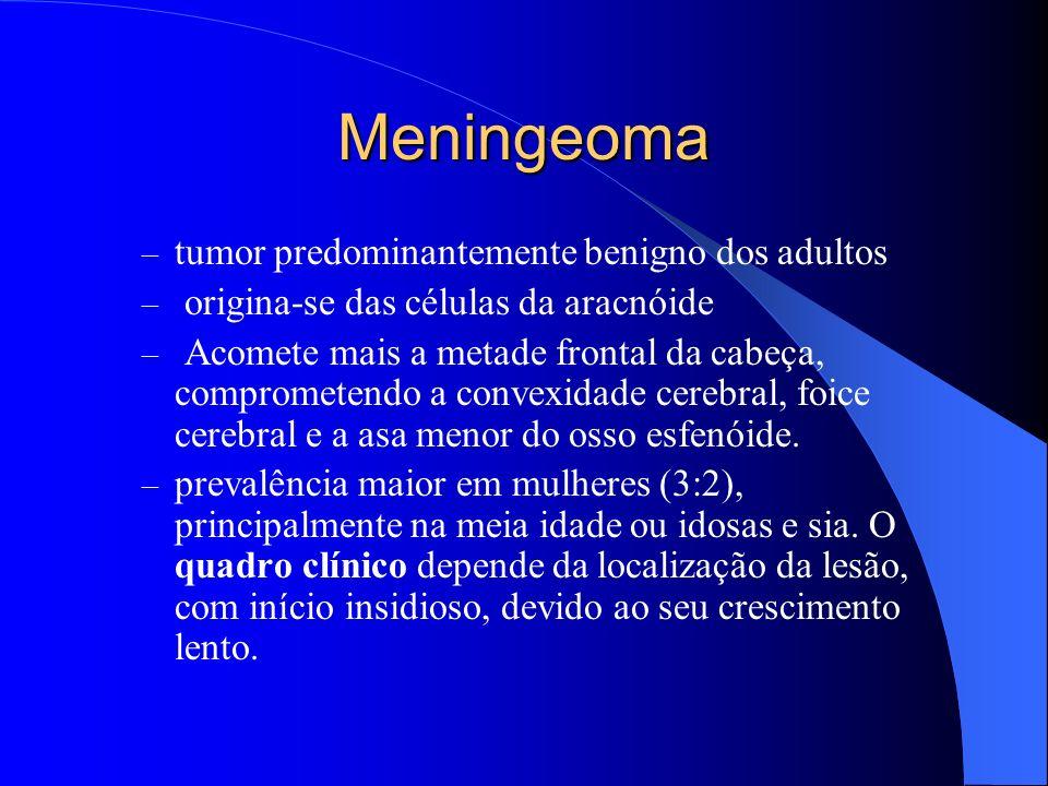 Meningeoma – tumor predominantemente benigno dos adultos – origina-se das células da aracnóide – Acomete mais a metade frontal da cabeça, comprometend