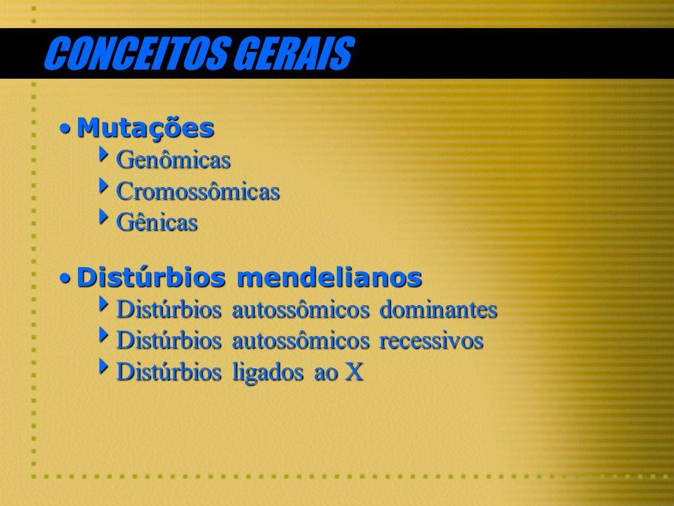 CONCEITOS GERAIS MutaçõesMutações Genômicas Genômicas Cromossômicas Cromossômicas Gênicas Gênicas Distúrbios mendelianosDistúrbios mendelianos Distúrb
