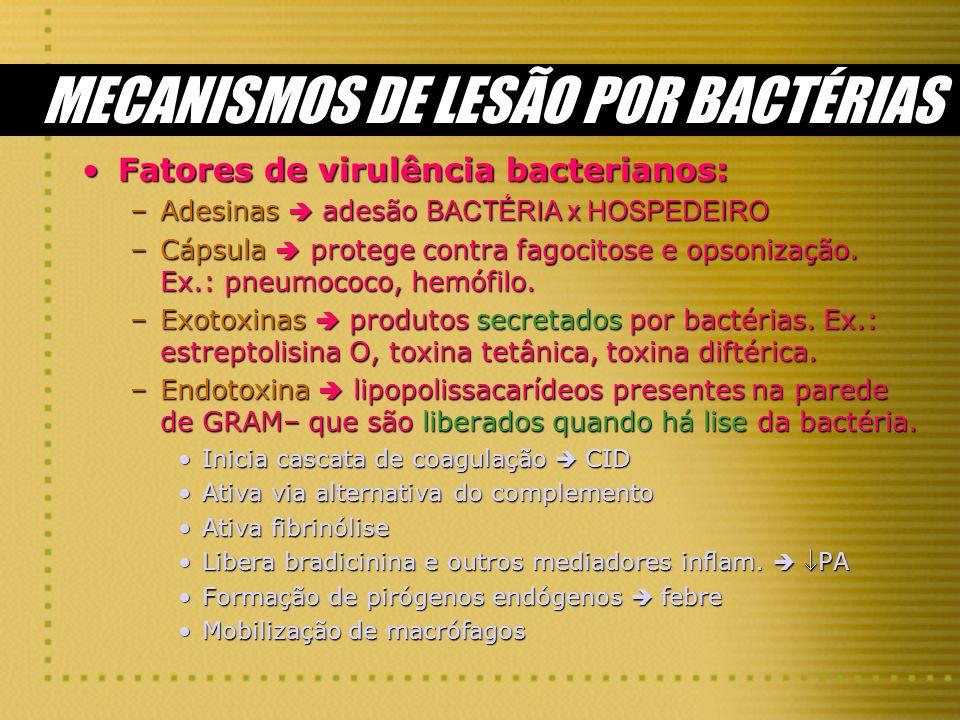 MECANISMOS DE LESÃO POR BACTÉRIAS Fatores de virulência bacterianos:Fatores de virulência bacterianos: –Adesinas adesão BACTÉRIA x HOSPEDEIRO –Cápsula