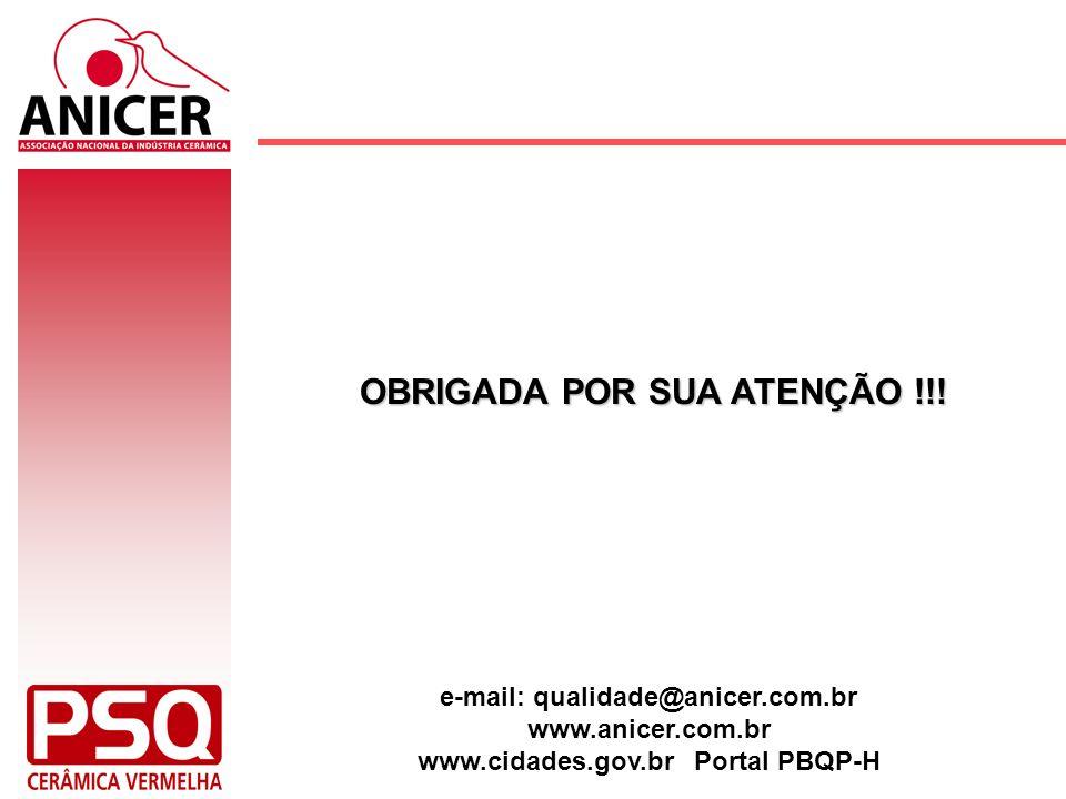 OBRIGADA POR SUA ATENÇÃO !!! e-mail: qualidade@anicer.com.br www.anicer.com.br www.cidades.gov.br Portal PBQP-H