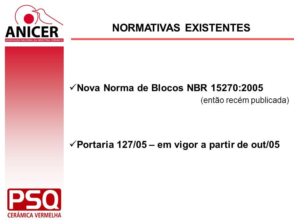 NORMATIVAS EXISTENTES Nova Norma de Blocos NBR 15270:2005 (então recém publicada) Portaria 127/05 – em vigor a partir de out/05