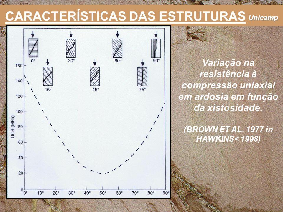 Unicamp Variação na resistência à compressão uniaxial em ardosia em função da xistosidade. (BROWN ET AL. 1977 in HAWKINS< 1998) CARACTERÍSTICAS DAS ES