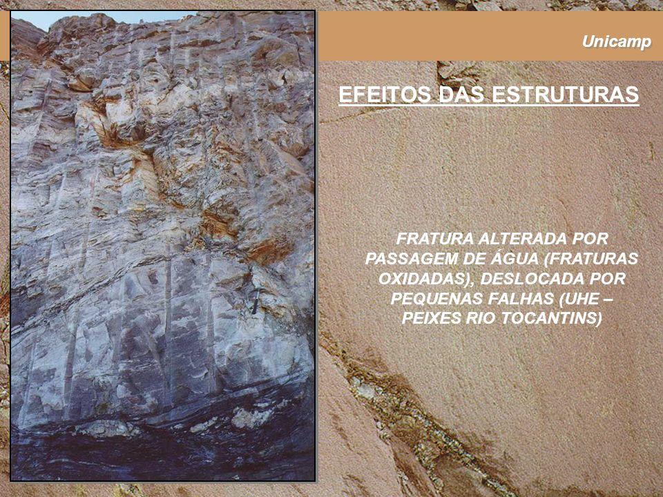 Unicamp EFEITOS DAS ESTRUTURAS FRATURA ALTERADA POR PASSAGEM DE ÁGUA (FRATURAS OXIDADAS), DESLOCADA POR PEQUENAS FALHAS (UHE – PEIXES RIO TOCANTINS)