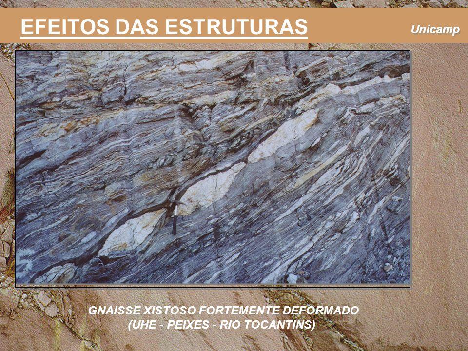 Unicamp EFEITOS DAS ESTRUTURAS GNAISSE XISTOSO FORTEMENTE DEFORMADO (UHE - PEIXES - RIO TOCANTINS)