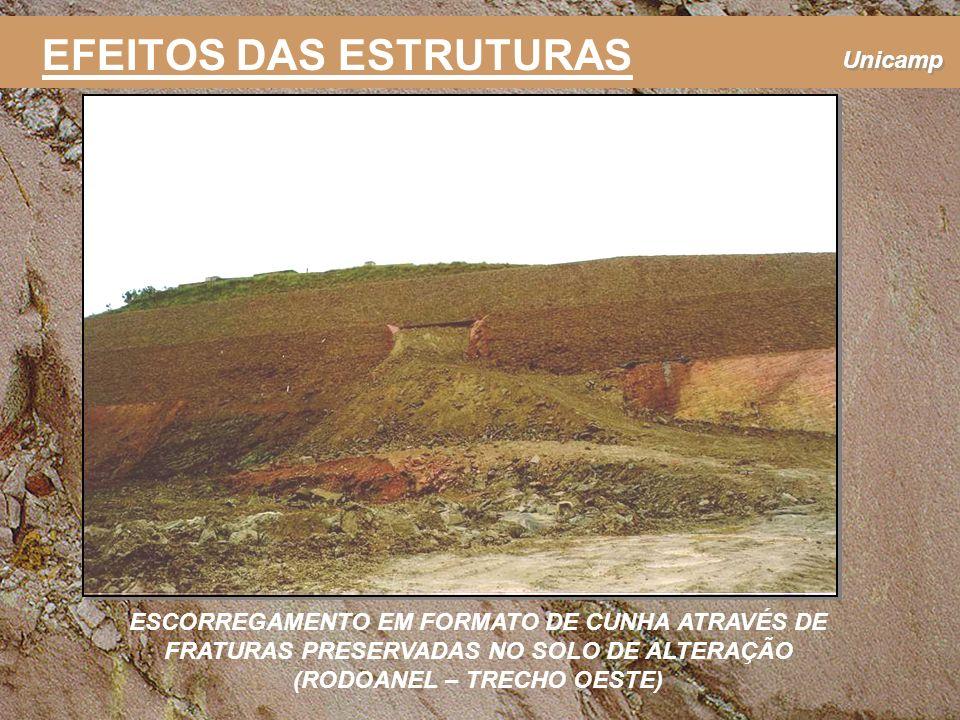 Unicamp ESCORREGAMENTO EM FORMATO DE CUNHA ATRAVÉS DE FRATURAS PRESERVADAS NO SOLO DE ALTERAÇÃO (RODOANEL – TRECHO OESTE) EFEITOS DAS ESTRUTURAS