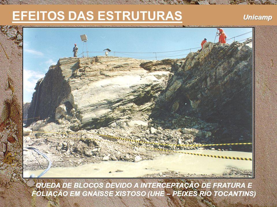 Unicamp EFEITOS DAS ESTRUTURAS QUEDA DE BLOCOS DEVIDO A INTERCEPTAÇÃO DE FRATURA E FOLIAÇÃO EM GNAISSE XISTOSO (UHE – PEIXES RIO TOCANTINS)