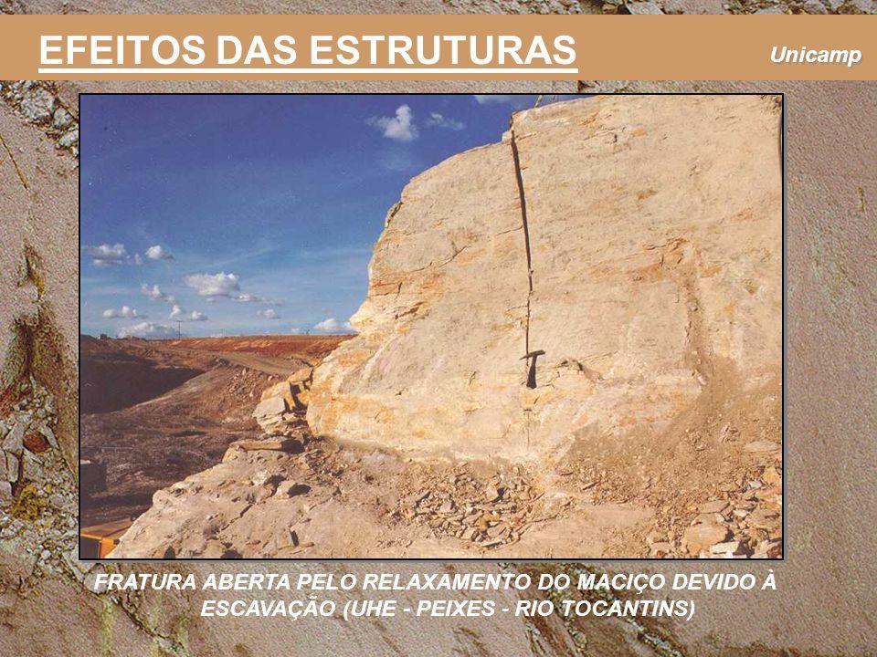 Unicamp FRATURA ABERTA PELO RELAXAMENTO DO MACIÇO DEVIDO À ESCAVAÇÃO (UHE - PEIXES - RIO TOCANTINS) EFEITOS DAS ESTRUTURAS
