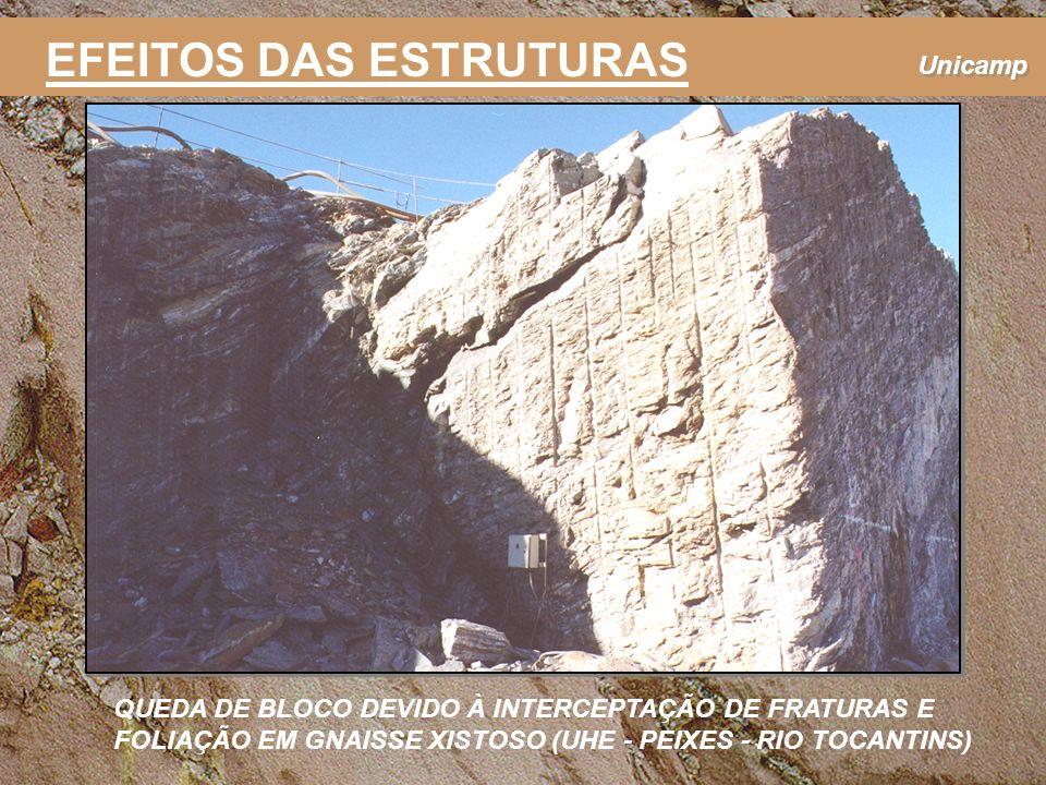 Unicamp EFEITOS DAS ESTRUTURAS QUEDA DE BLOCO DEVIDO À INTERCEPTAÇÃO DE FRATURAS E FOLIAÇÃO EM GNAISSE XISTOSO (UHE - PEIXES - RIO TOCANTINS)
