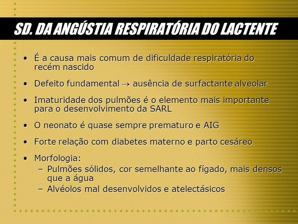 SD. DA ANGÚSTIA RESPIRATÓRIA DO LACTENTE É a causa mais comum de dificuldade respiratória do recém nascidoÉ a causa mais comum de dificuldade respirat