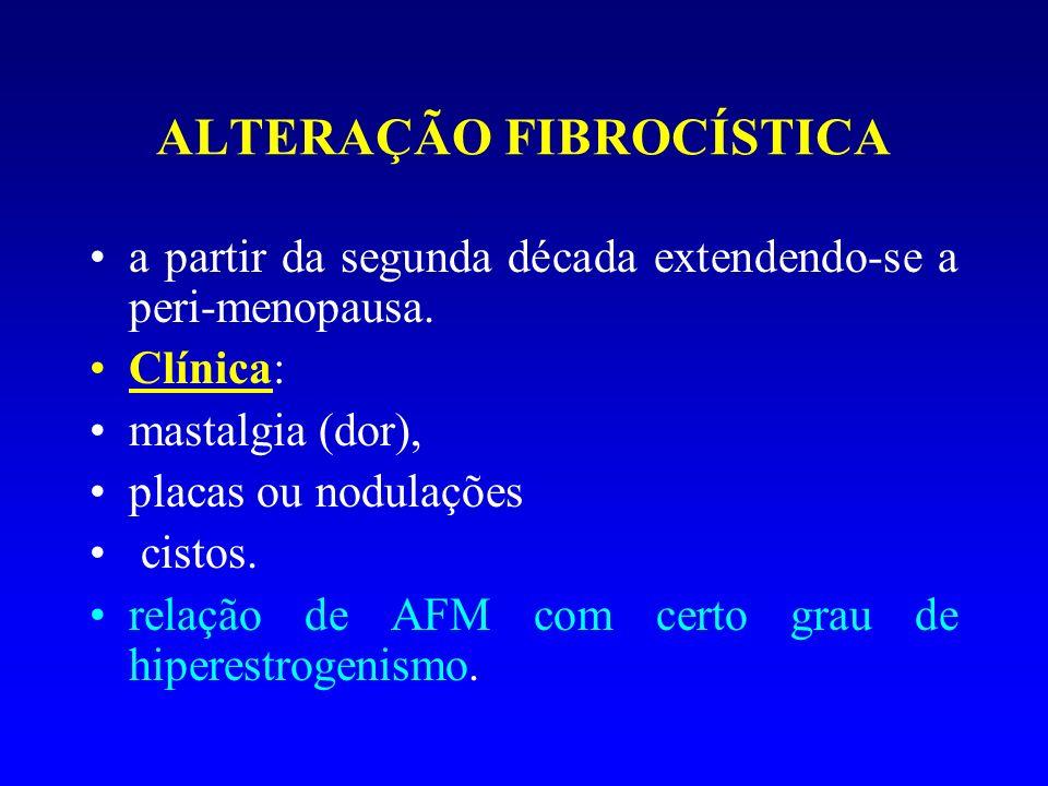 ALTERAÇÃO FIBROCÍSTICA a partir da segunda década extendendo-se a peri-menopausa. Clínica: mastalgia (dor), placas ou nodulações cistos. relação de AF