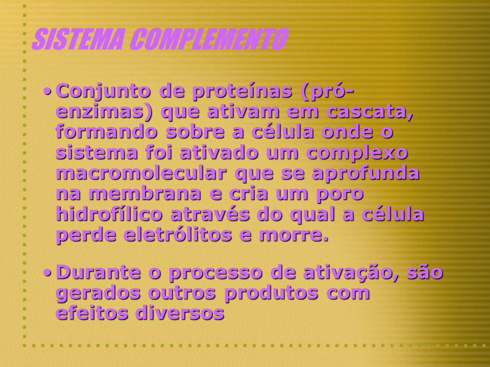 SISTEMA COMPLEMENTO Conjunto de proteínas (pró- enzimas) que ativam em cascata, formando sobre a célula onde o sistema foi ativado um complexo macromo