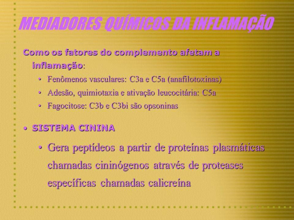 MEDIADORES QUÍMICOS DA INFLAMAÇÃO Como os fatores do complemento afetam a inflamação : Fenômenos vasculares: C3a e C5a (anafilotoxinas)Fenômenos vascu