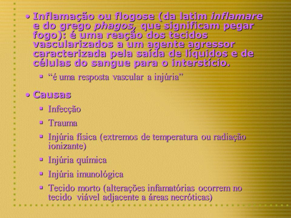 Inflamação ou flogose (da latim inflamare e do grego phagos, que significam pegar fogo): é uma reação dos tecidos vascularizados a um agente agressor
