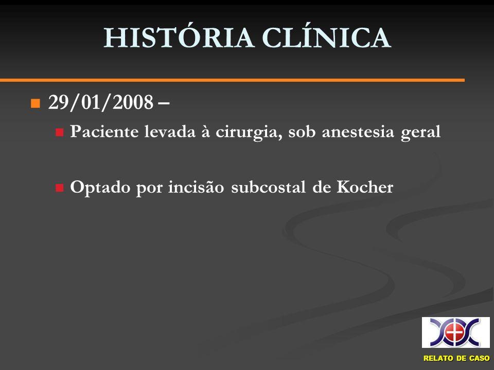 RELATO DE CASO HISTÓRIA CLÍNICA 29/01/2008 – Paciente levada à cirurgia, sob anestesia geral Optado por incisão subcostal de Kocher