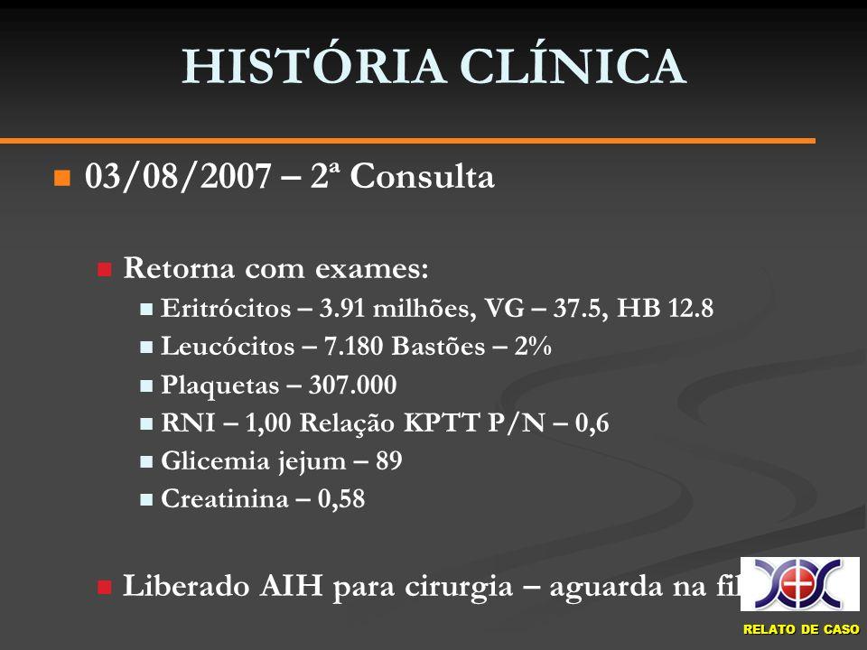 RELATO DE CASO HISTÓRIA CLÍNICA 03/08/2007 – 2ª Consulta Retorna com exames: Eritrócitos – 3.91 milhões, VG – 37.5, HB 12.8 Leucócitos – 7.180 Bastões