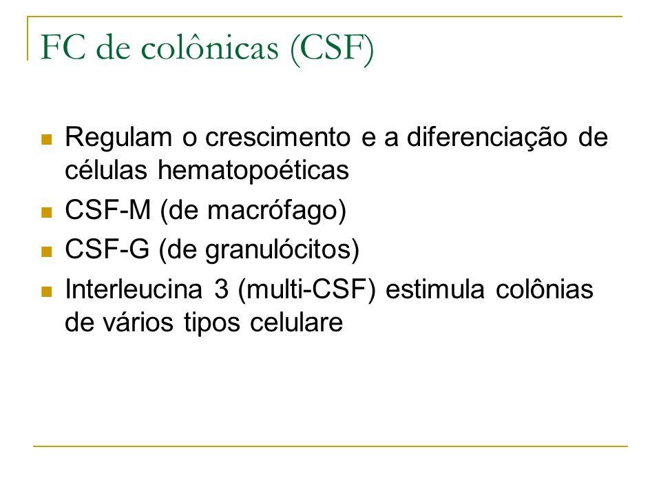 FC de colônicas (CSF) Regulam o crescimento e a diferenciação de células hematopoéticas CSF-M (de macrófago) CSF-G (de granulócitos) Interleucina 3 (multi-CSF) estimula colônias de vários tipos celulare