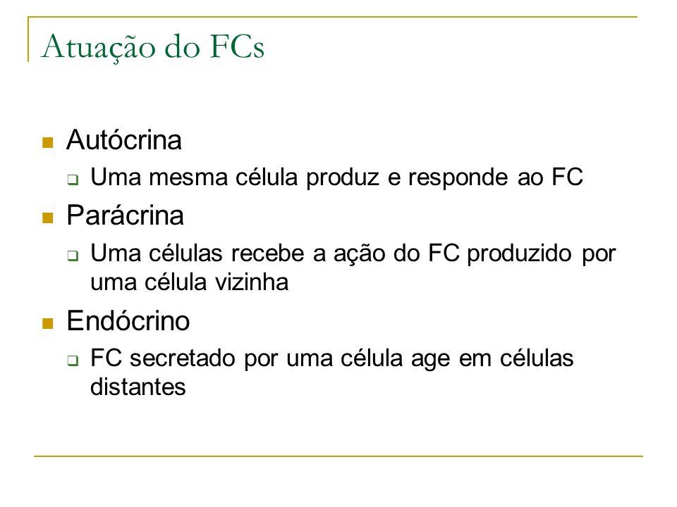 Atuação do FCs Autócrina Uma mesma célula produz e responde ao FC Parácrina Uma células recebe a ação do FC produzido por uma célula vizinha Endócrino FC secretado por uma célula age em células distantes
