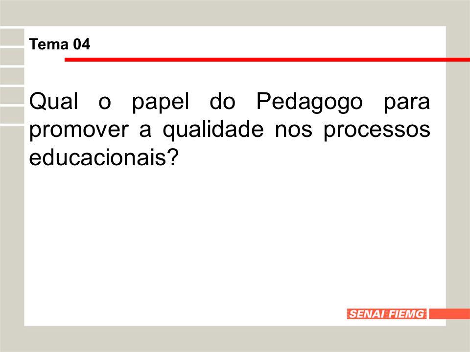 Tema 04 Qual o papel do Pedagogo para promover a qualidade nos processos educacionais?