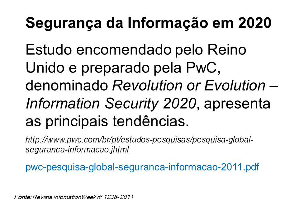 Segurança da Informação em 2020 Estudo encomendado pelo Reino Unido e preparado pela PwC, denominado Revolution or Evolution – Information Security 20