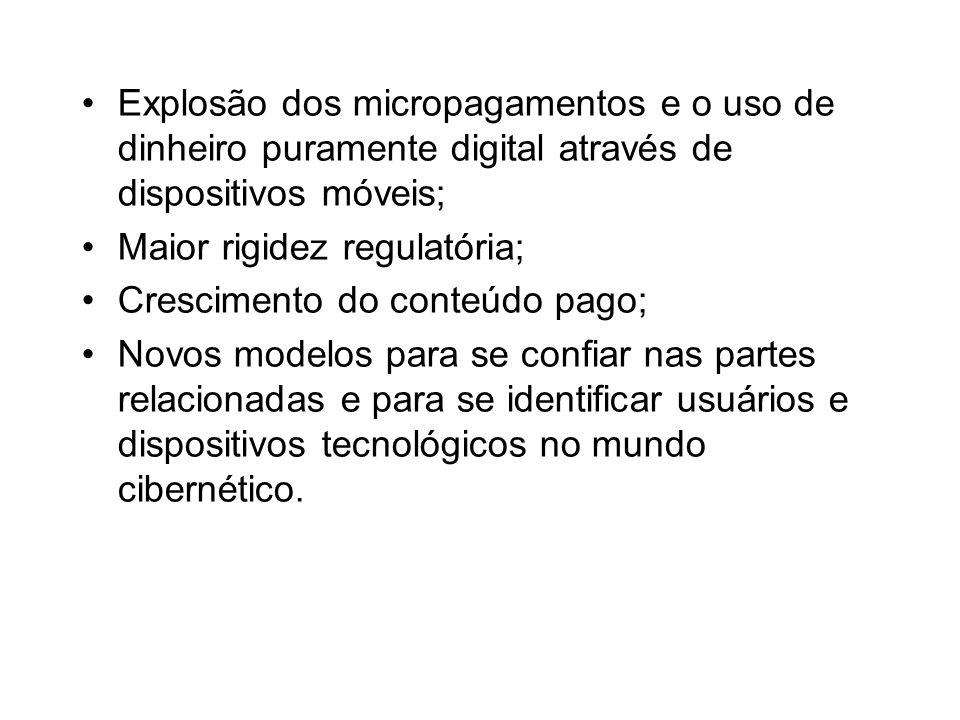 Explosão dos micropagamentos e o uso de dinheiro puramente digital através de dispositivos móveis; Maior rigidez regulatória; Crescimento do conteúdo