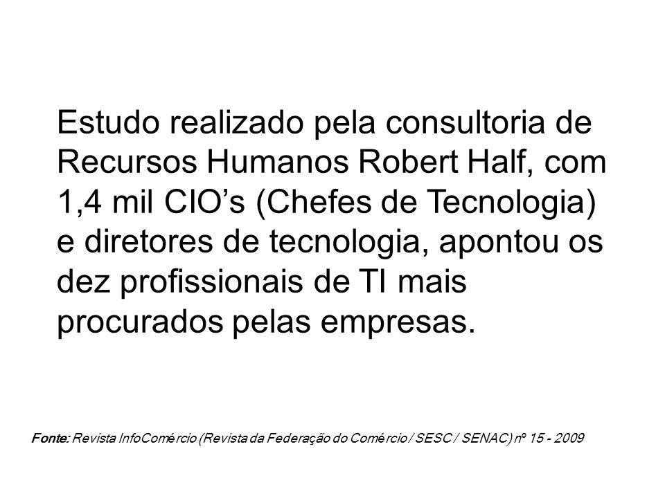 Estudo realizado pela consultoria de Recursos Humanos Robert Half, com 1,4 mil CIOs (Chefes de Tecnologia) e diretores de tecnologia, apontou os dez p
