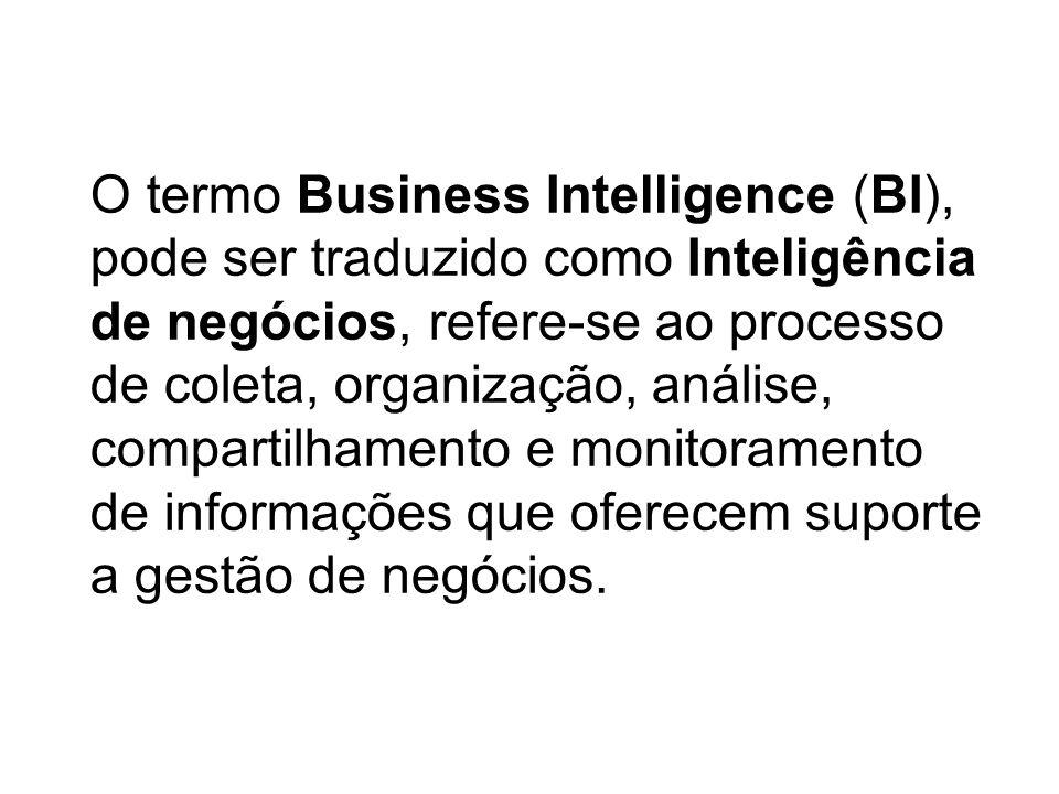 O termo Business Intelligence (BI), pode ser traduzido como Inteligência de negócios, refere-se ao processo de coleta, organização, análise, compartil