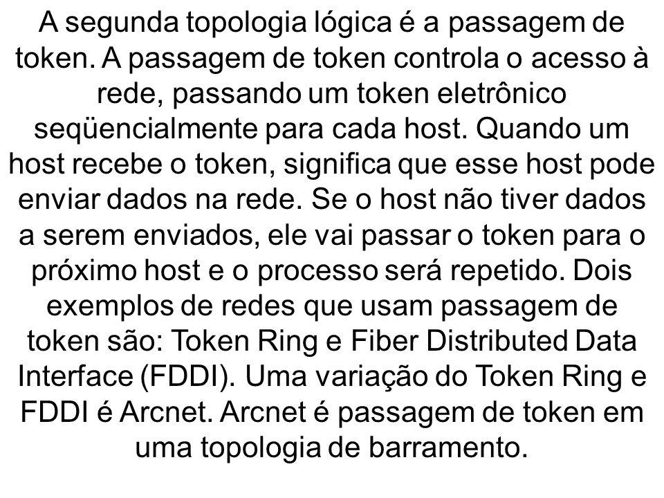A segunda topologia lógica é a passagem de token. A passagem de token controla o acesso à rede, passando um token eletrônico seqüencialmente para cada