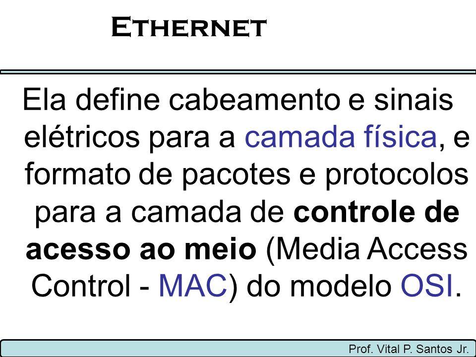 Ethernet Prof.Vital P. Santos Jr. A Ethernet foi padronizada pelo IEEE como 802.3.